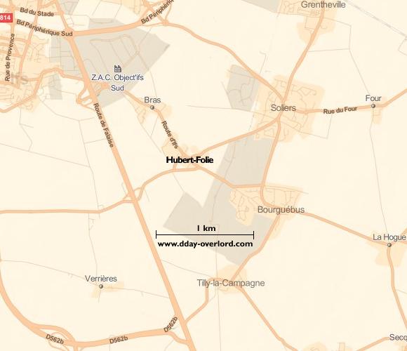 Image : carte du secteur d'Hubert Folie - Bataille de Normandie en 1944