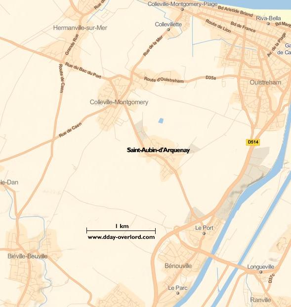 Image : carte du secteur de Saint-Aubin-d'Arquenay - Bataille de Normandie en 1944