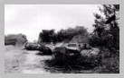 Image : Mi-août 1944 : des épaves encore fumantes de véhicules de transport de troupe allemands dans le secteur de Carrouges, sur la route de Rânes, détruits par les chasseurs P-47 Thunderbolt du 404th Fighter Group qui est alors basé sur l'aérodrome ALG A-12 de Lignerolles.