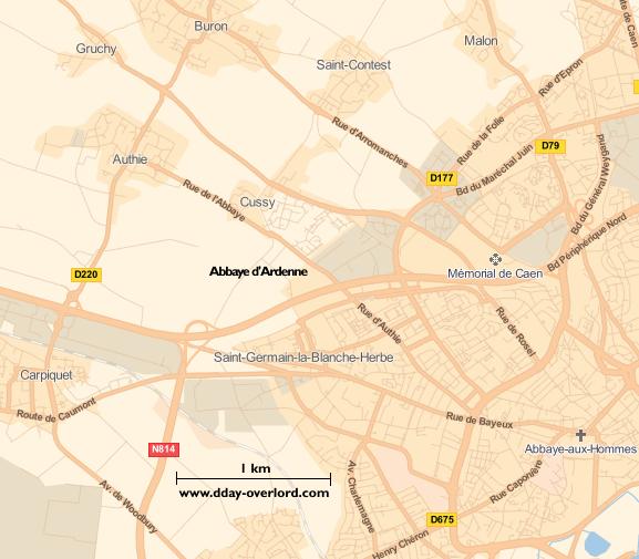 Image : carte du secteur de Abbaye d'Ardenne - Bataille de Normandie en 1944