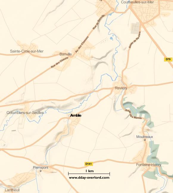 Image : carte du secteur de Amblie - Bataille de Normandie en 1944