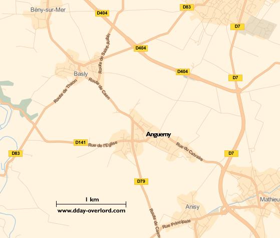 Image : carte du secteur d'Anguerny - Bataille de Normandie en 1944