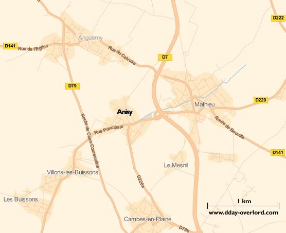 Image : Carte du secteur d'Anisy - Bataille de Normandie en 1944