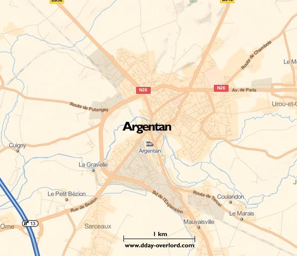Image : Carte de Argentan dans l'Orne