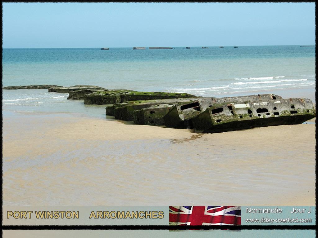 D barquement de normandie fonds d 39 cran - Port artificiel d arromanches construction ...