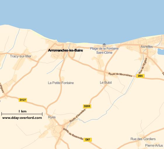 Image : carte du secteur de Arromanches-les-Bains - Bataille de Normandie en 1944