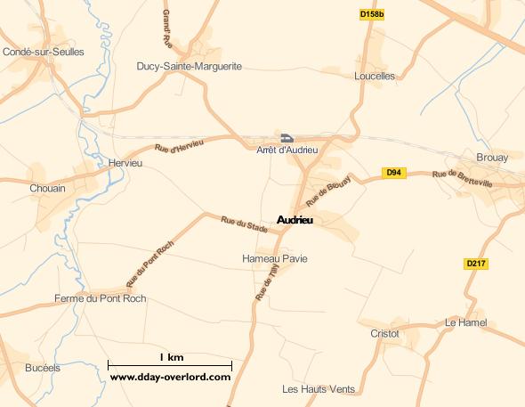 Image : carte du secteur de Audrieu - Bataille de Normandie en 1944
