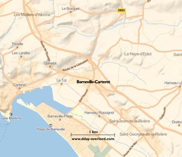 Image : carte du secteur de Barneville-Carteret - Bataille de Normandie en 1944