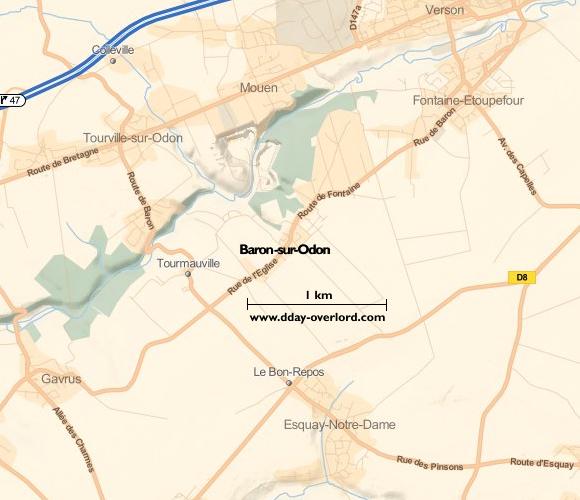 Image : Carte de Baron-sur-Odon dans le Calvados