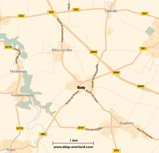 Image : carte du secteur de Basly - Bataille de Normandie en 1944