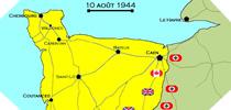 Image : Carte de l'evolution des combats en Normandie le 10 aout 1944 à minuit