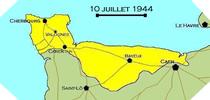 Image : Carte de l'evolution des combats en Normandie le 10 juillet 1944 à minuit