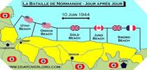 Image : Carte de l'evolution des combats en Normandie le 10 juin 1944 à minuit