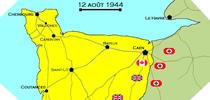 Image : Carte de l'evolution des combats en Normandie le 12 aout 1944 à minuit