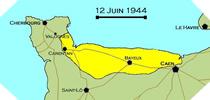 Image : Carte de l'evolution des combats en Normandie le 12 juin 1944 à minuit