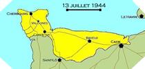 Image : Carte de l'evolution des combats en Normandie le 13 juillet 1944 à minuit