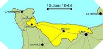 Image : Carte de l'evolution des combats en Normandie le 13 juin 1944 à minuit