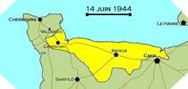 Image : Carte de l'evolution des combats en Normandie le 14 juin 1944 à minuit