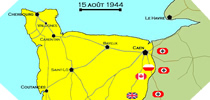 Image : Carte de l'evolution des combats en Normandie le 15 aout 1944 à minuit