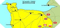 Image : Carte de l'evolution des combats en Normandie le 16 aout 1944 à minuit