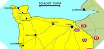 Image : Carte de l'evolution des combats en Normandie le 18 aout 1944 à minuit