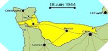 Image : Carte de l'evolution des combats en Normandie le 18 juin 1944 à minuit