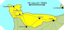 Image : Carte de l'evolution des combats en Normandie le 19 juillet 1944 à minuit