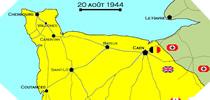 Image : Carte de l'evolution des combats en Normandie le 20 aout 1944 à minuit