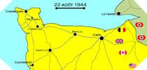 Image : Carte de l'evolution des combats en Normandie le 22 aout 1944 à minuit