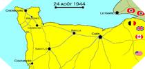 Image : Carte de l'evolution des combats en Normandie le 24 aout 1944 à minuit