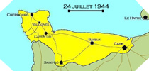 Image : Carte de l'evolution des combats en Normandie le 24 juillet 1944 à minuit