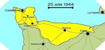 Image : Carte de l'evolution des combats en Normandie le 25 juin 1944 à minuit