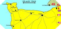 Image : Carte de l'evolution des combats en Normandie le 26 aout 1944 à minuit
