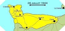 Image : Carte de l'evolution des combats en Normandie le 26 juillet 1944 à minuit
