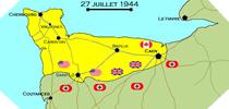 Image : Carte de l'evolution des combats en Normandie le 27 juillet 1944 à minuit