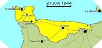 Image : Carte de l'evolution des combats en Normandie le 27 juin 1944 à minuit