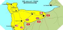Image : Carte de l'evolution des combats en Normandie le 28 juillet 1944 à minuit