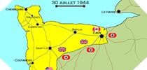 Image : Carte de l'evolution des combats en Normandie le 30 juillet 1944 à minuit