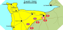 Image : Carte de l'evolution des combats en Normandie le 3 aout 1944 à minuit