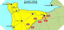 Image : Carte de l'evolution des combats en Normandie le 5 aout 1944 à minuit