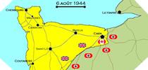 Image : Carte de l'evolution des combats en Normandie le 6 aout 1944 à minuit