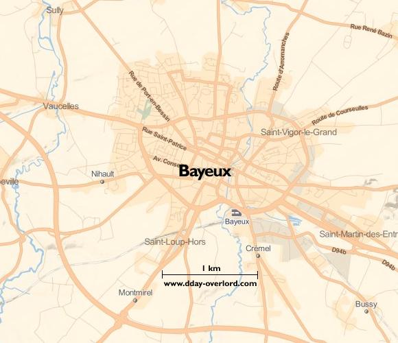Image : carte du secteur de Bayeux - Bataille de Normandie en 1944