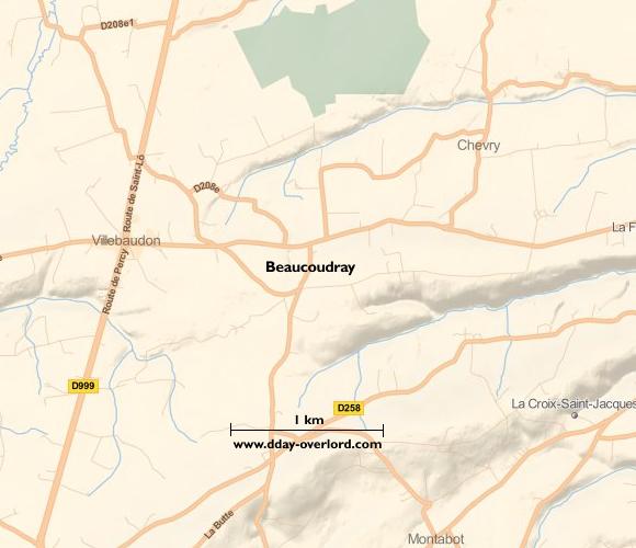 Image : carte du secteur de Beaucoudray - Bataille de Normandie en 1944