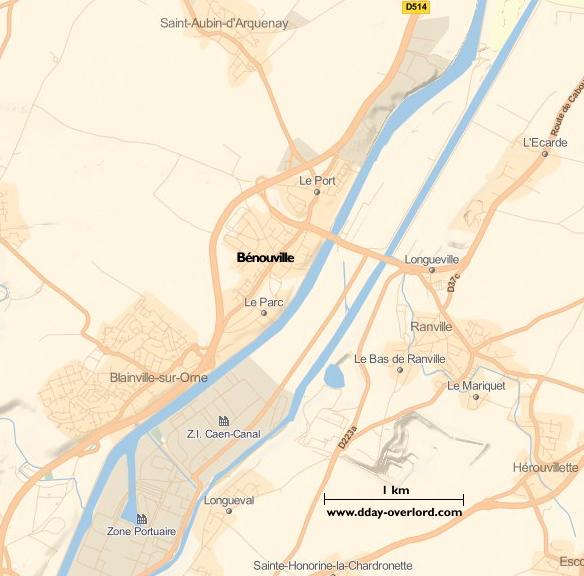 Image : carte du secteur de Bénouville - Bataille de Normandie en 1944
