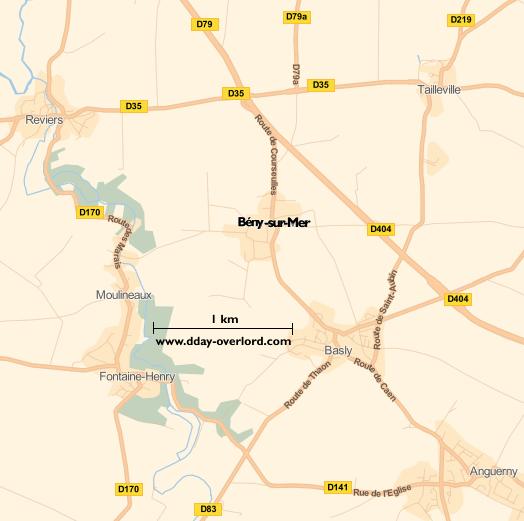 Image : carte du secteur de Bény-sur-Mer - Bataille de Normandie en 1944