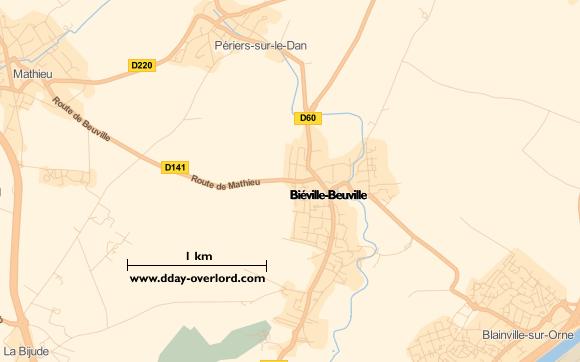 Image : carte du secteur de Biéville-sur-Orne - Beuville - Bataille de Normandie en 1944