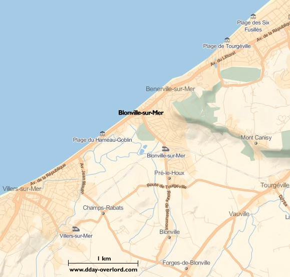 Image : carte du secteur de Blonville-sur-Mer- Bataille de Normandie en 1944