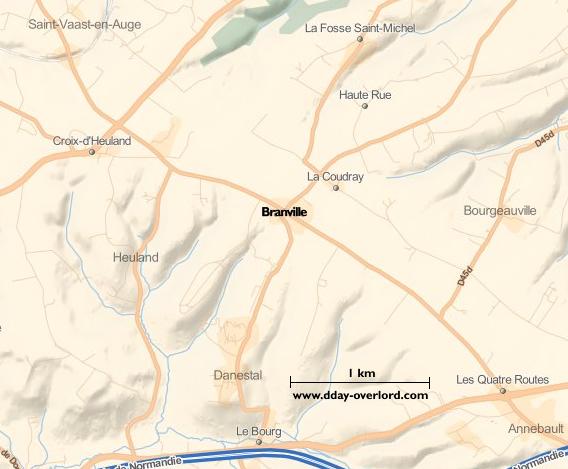 Image : carte du secteur de Branville - Bataille de Normandie en 1944