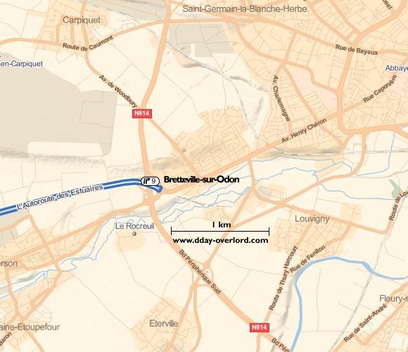 Image : Carte de Bretteville-sur-Odon dans le Calvados