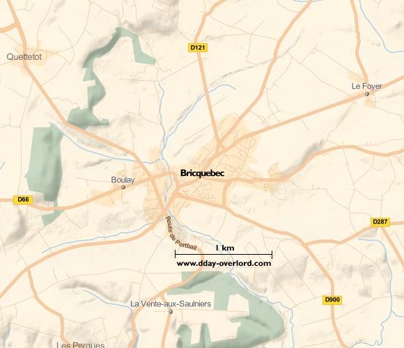 Image : carte du secteur de Bricquebec - Bataille de Normandie en 1944